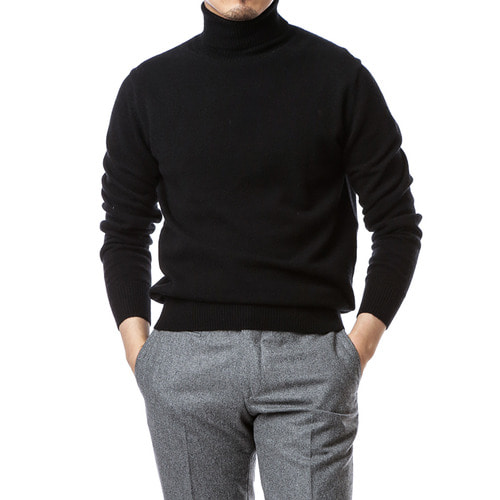 Cashmere Purity Black Turtleneck