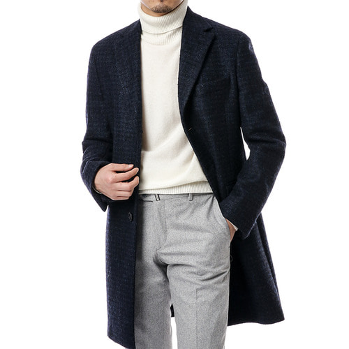 Blue Canonico Alpaca Gingham Coat