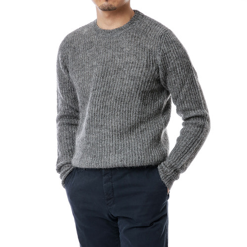 Gray Ribbed Mohair Knit