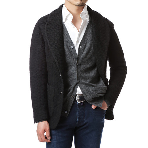 Black Knit Shawl Collar Jacket