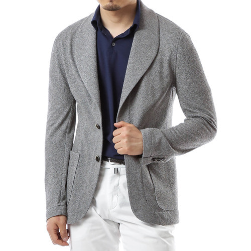 Gray Shawl Collar Jersey Jacket