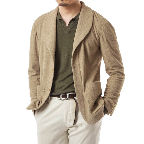 Brown Shawl Collar Terry Jacket