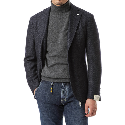 Navy Bird Eye Single Jacket