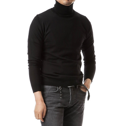 Black Balance Wool Turtleneck