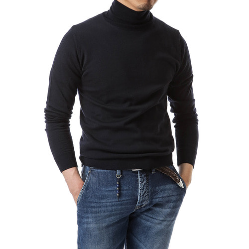Navy Balance Wool Turtleneck