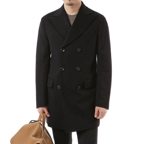 Black Double Delicate Pea Coat