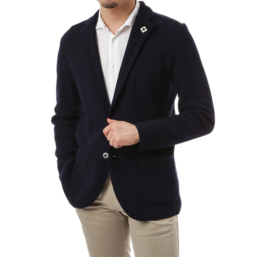 Navy Single Diamond Knit Jacket