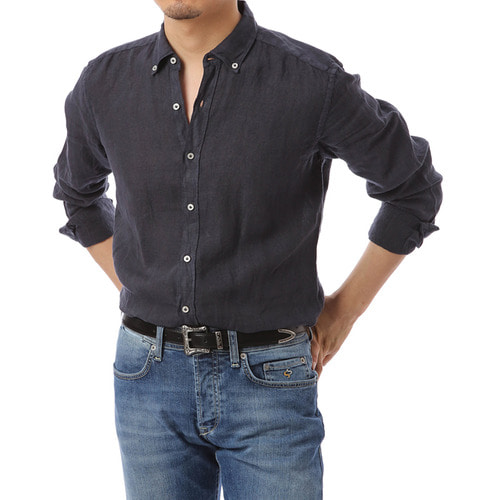Button Down Navy Linen Shirts