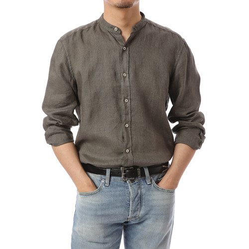 Open China Collar Khaki Linen Shirts