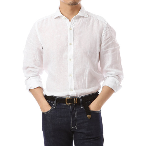 Angle Collar White Linen Shirts