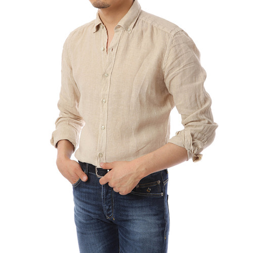 Button Down Beige Linen Shirts