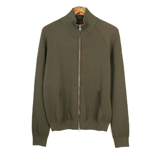 Coloration Knit Zip-up Khaki Jacket