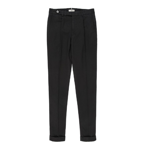 BYRON. One Pleats Belted Cotton Pants (Black)