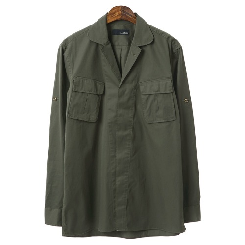 Military Retro Diagonal Pocket Khaki Shirts