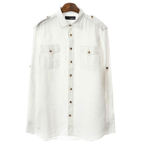 Military Fade Out Detail white Linen Shirts
