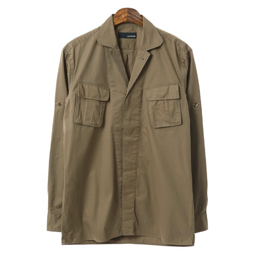 Military Retro Diagonal Pocket Brown Shirts