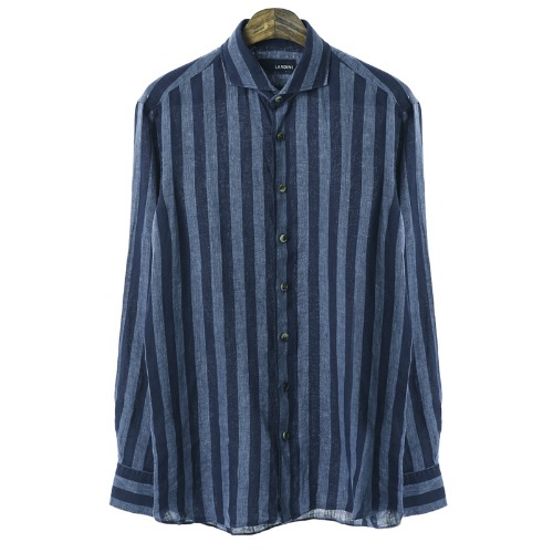 Stripe Rolling Dark Blue Linen Shirts