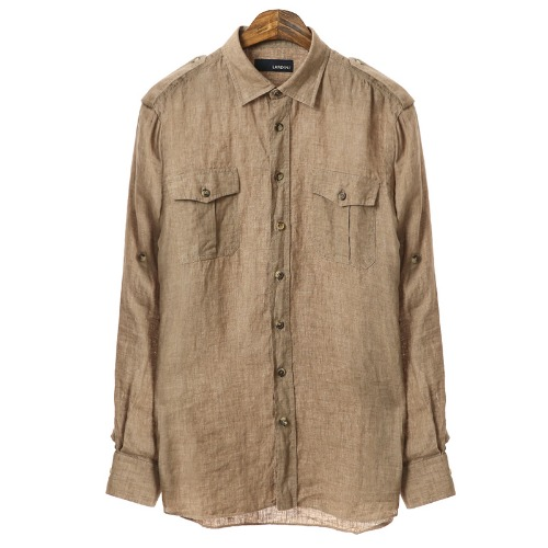 Military Fade Out Detail Brown Linen Shirts