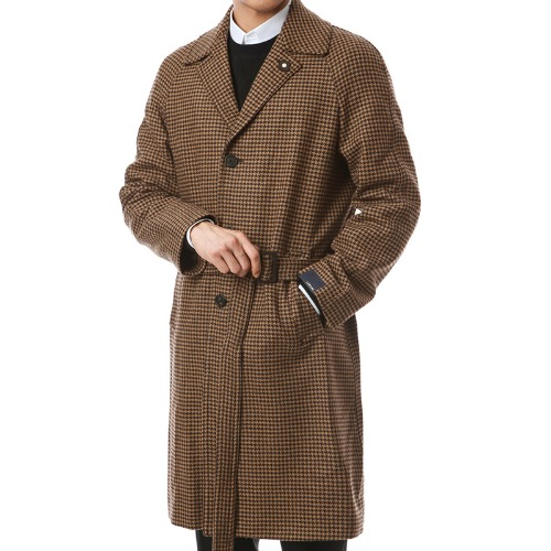 Houndstooth Belted Brown Single Coat
