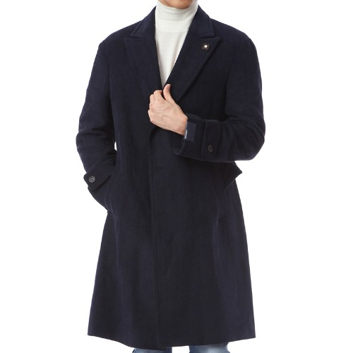 Wool Blended Herringbone Navy Single Belted Coat