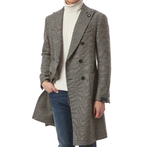 100% Wool Double Glen Check Coat