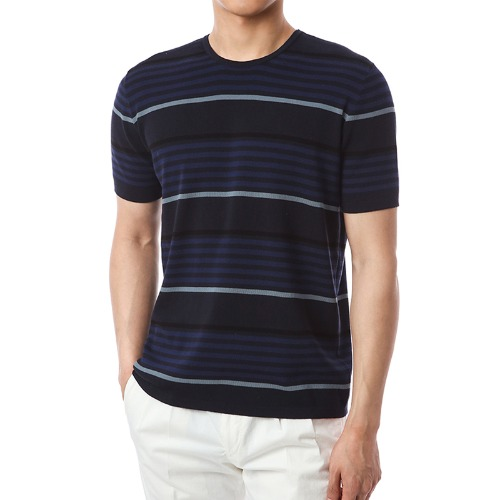 British Stripe Round Knit (Navy)