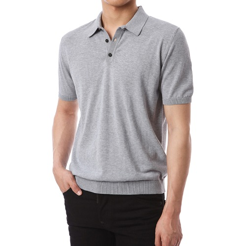 Classic Knit Button-up Pique Shirts (Grey)