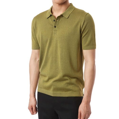 Simple Viscosa Button-up Pique Shirts (Khaki)