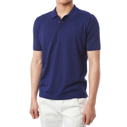 Simple Viscosa Button-up Pique Shirts (DarkBlue)