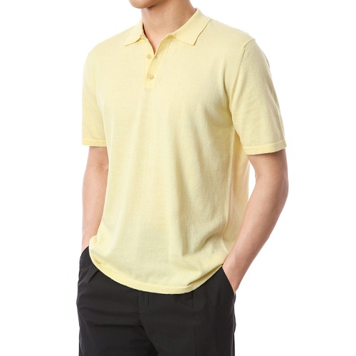 Organic Button-Up Pique Shirts (Soft Yellow)