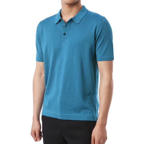 Simple Viscosa Button-up Pique Shirts (AquaBlue)