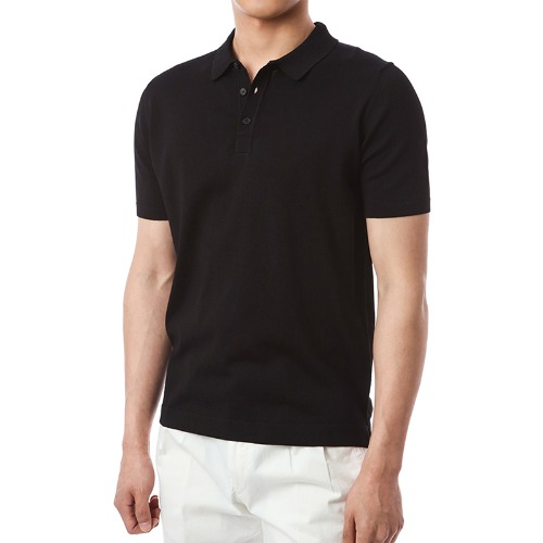 Simple Viscosa Button-up Pique Shirts (Black)