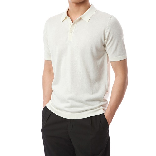 Simple Viscosa Button-up Pique Shirts (Ivory)