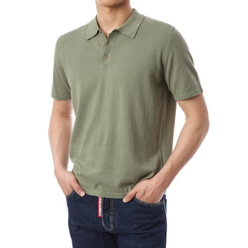 Organic Button-Up Pique Shirts (Soft Khaki)