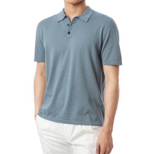 Organic Button-Up Pique Shirts (Soft Blue)