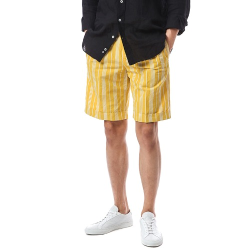 BERMUDA. Fade. Two Pleats Half Stripe Pants (Yellow)