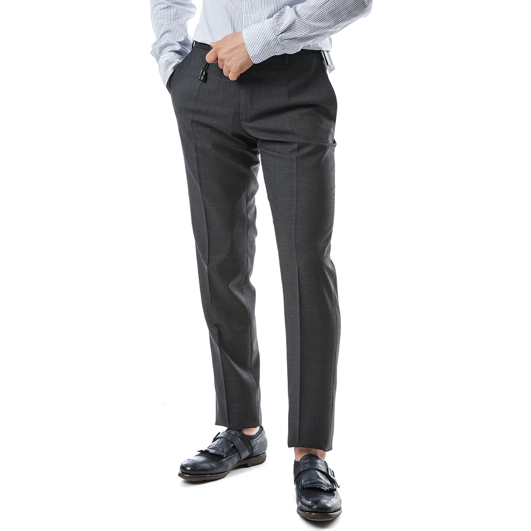 Slim Fit Glancheck Wool Pants