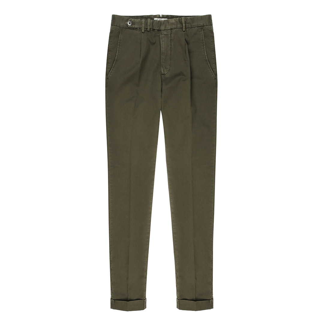 BYRON. One Pleats Belted Cotton Pants (Military)